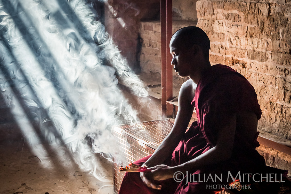 Monks amongst the gorgeous temples and pagodas of Bagan, Burma.
